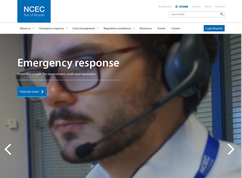 NCEC homepage screenshot