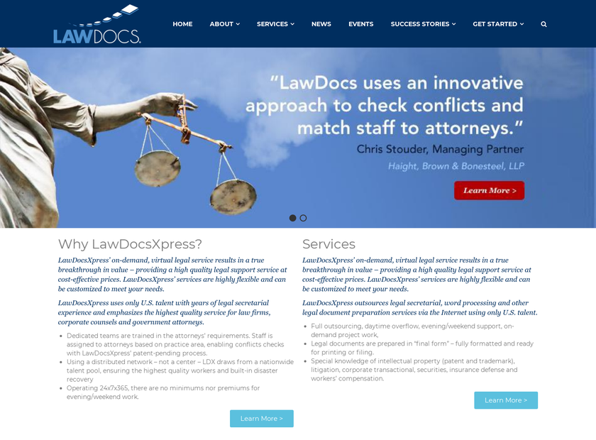 LawDocsXpress Inc homepage screenshot