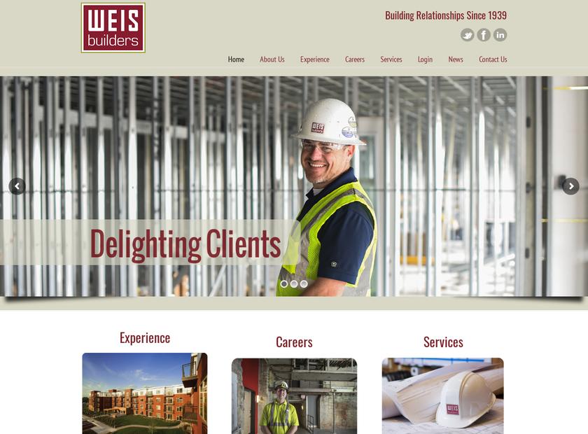 Weis Builders , Inc. homepage screenshot
