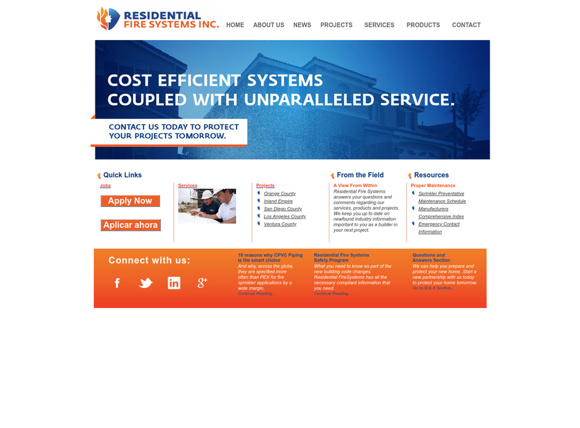 Residential Fire Systems Inc homepage screenshot