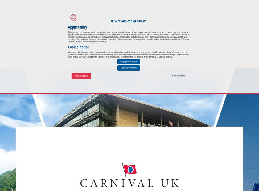 Carnival UK homepage screenshot
