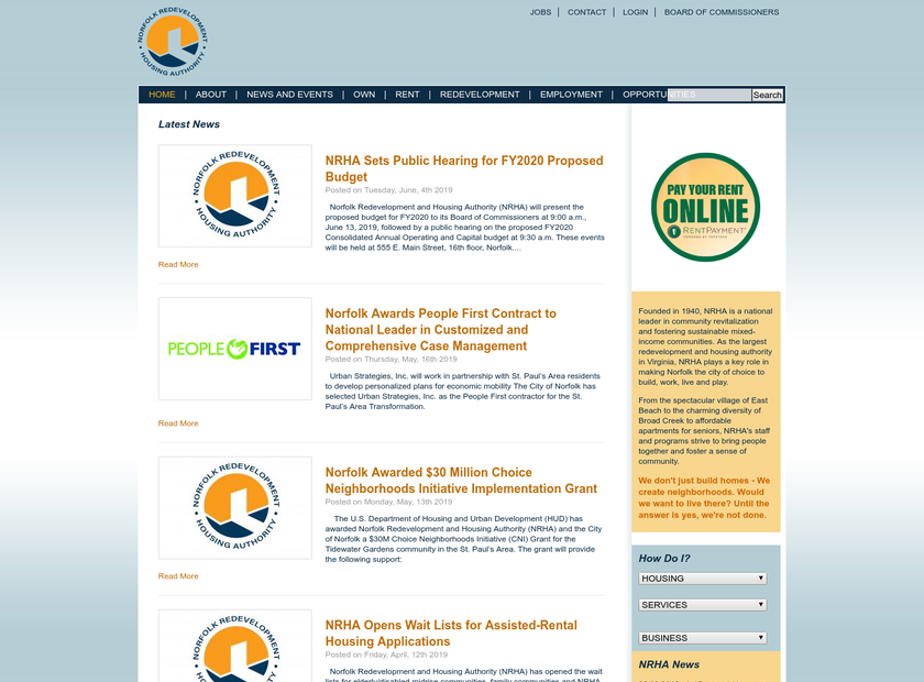 Norfolk Redevelopment and Housing Authority homepage screenshot