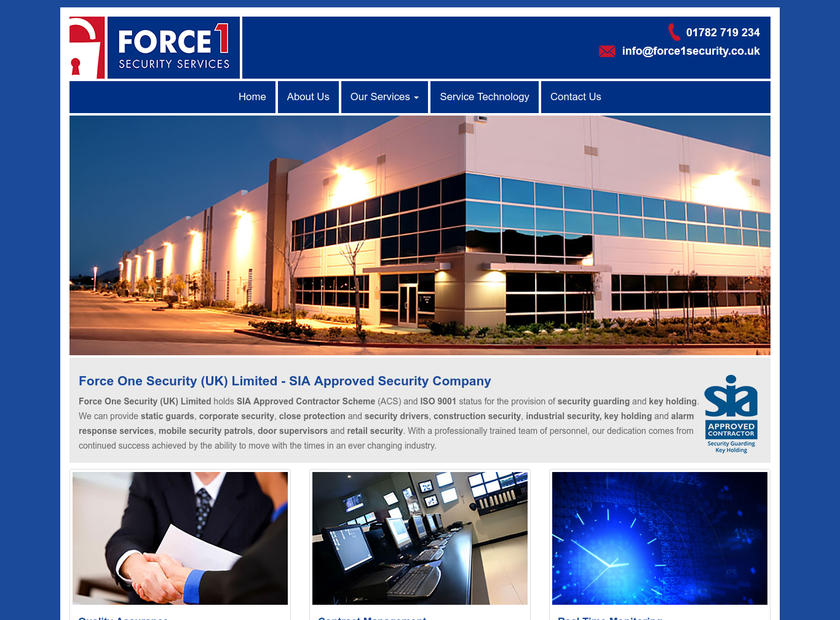 Force 1 Security Services homepage screenshot