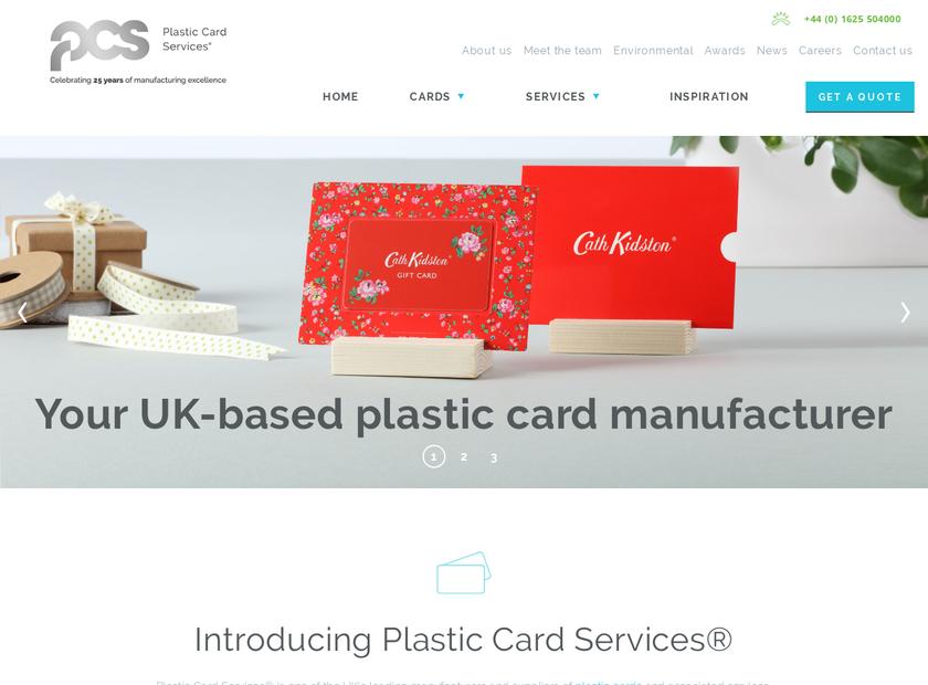 Plastic Card Services Ltd homepage screenshot