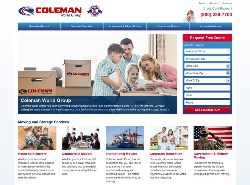 Coleman World Group homepage screenshot