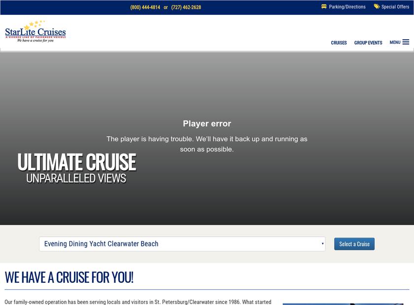 StarLite Cruises homepage screenshot