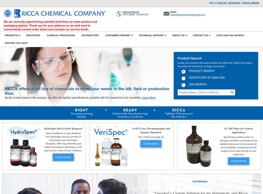 Ricca Chemical Company homepage screenshot