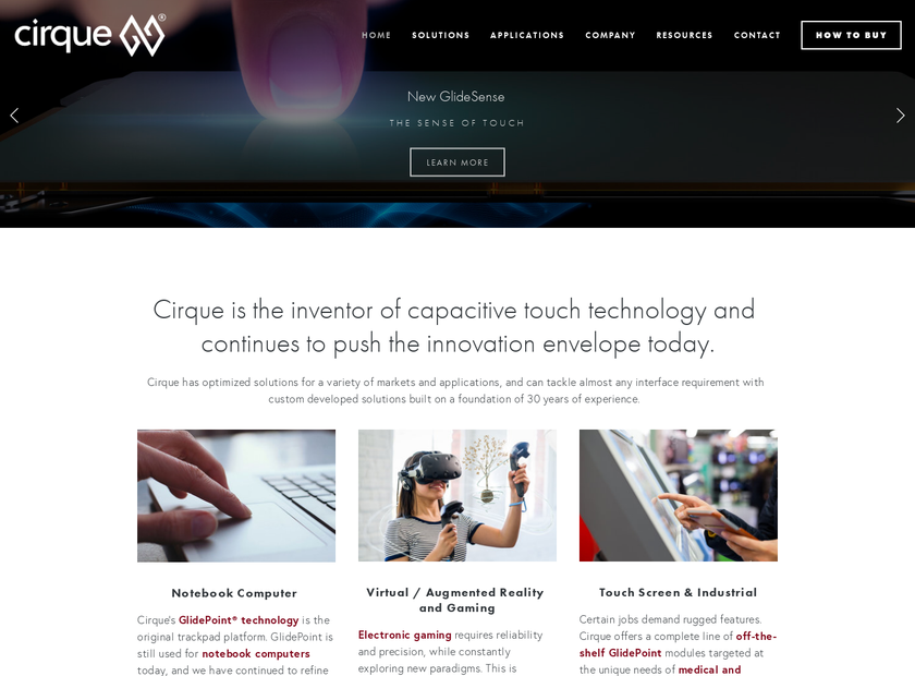 Cirque Corporation homepage screenshot