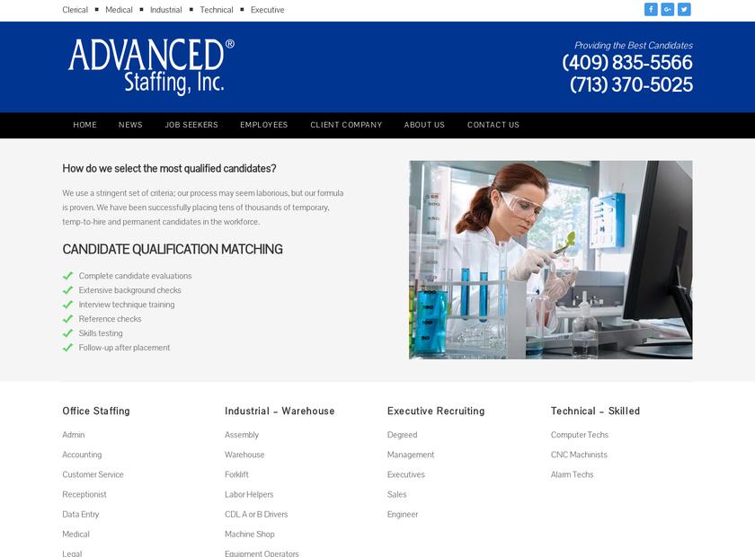 Advanced Staffing Inc homepage screenshot
