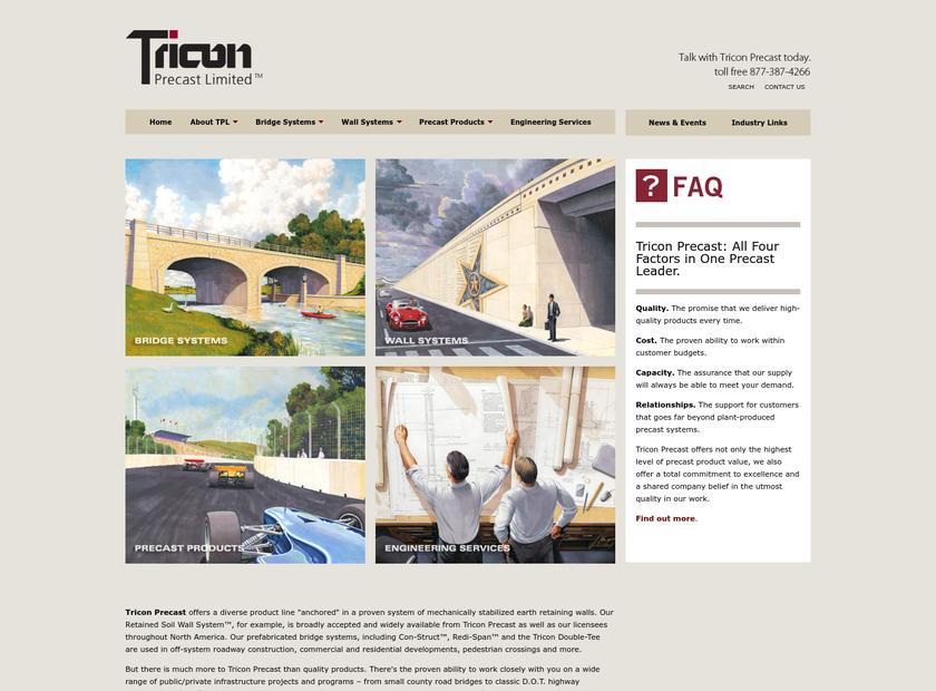 Tricon Precast Ltd homepage screenshot