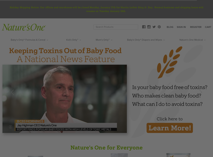 NATURE'S ONE INC homepage screenshot