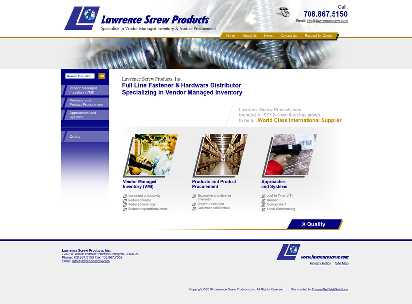 Lawrence Screw Products Inc homepage screenshot