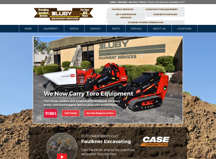 Luby Equipment Services homepage screenshot