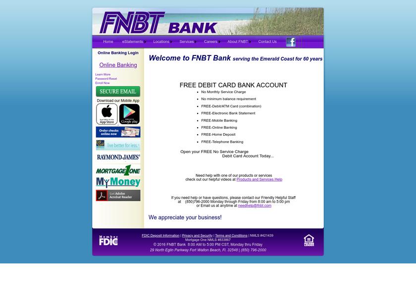 FNBT Bank homepage screenshot