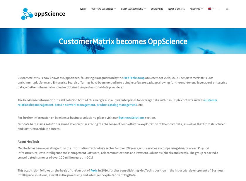 CustomerMatrix Inc homepage screenshot