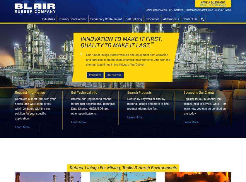 Blair Rubber Company homepage screenshot
