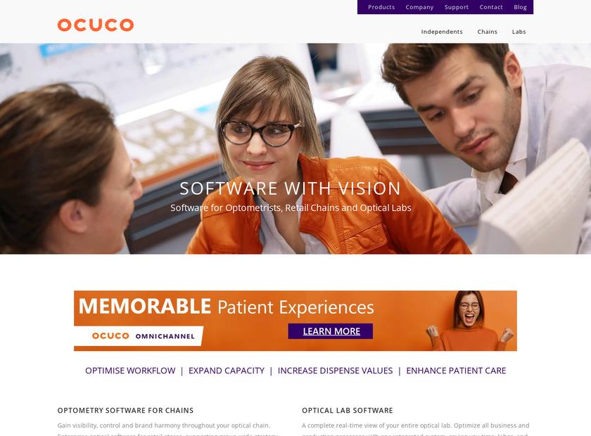 Ocuco Limited homepage screenshot