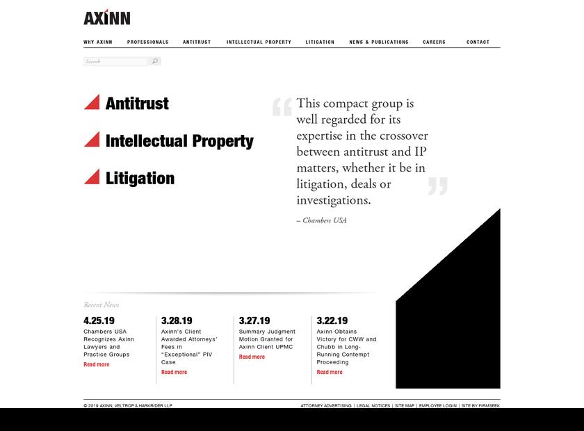 Axinn Veltrop & Harkrider LLP homepage screenshot