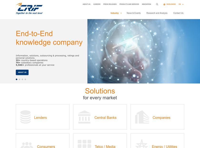 CRIF SpA homepage screenshot