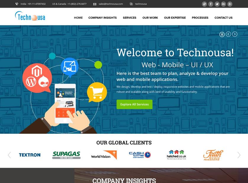 Technousa homepage screenshot