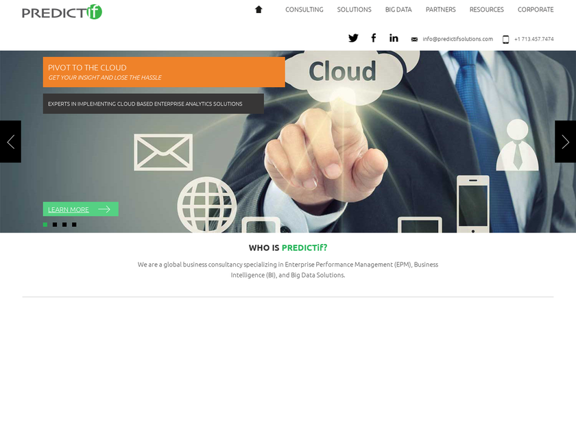 PREDICTif Solutions homepage screenshot