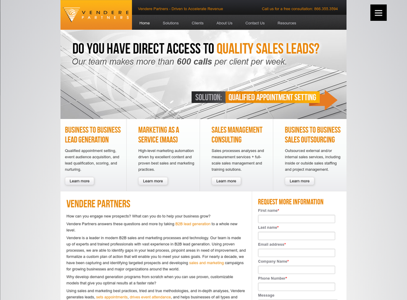 Vendere Partners homepage screenshot