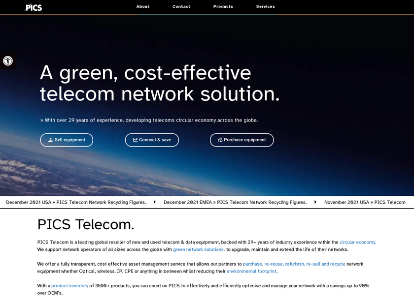 PICS Telecom Corporation homepage screenshot
