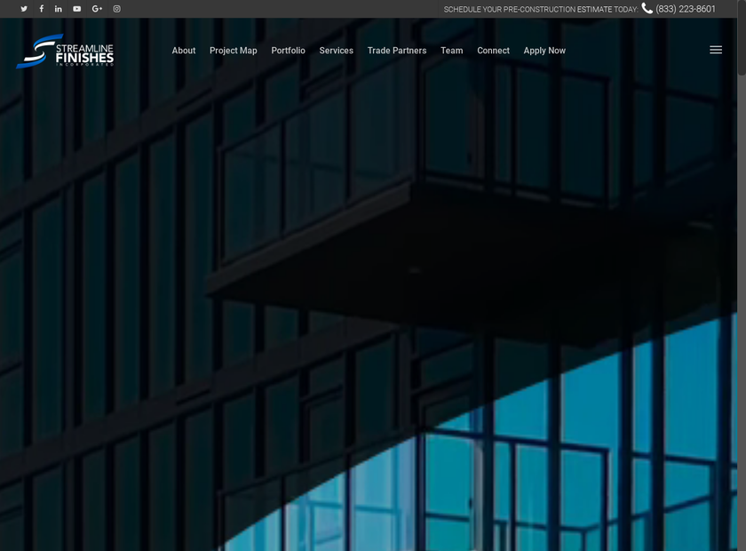 Streamline Finishes, Inc. homepage screenshot