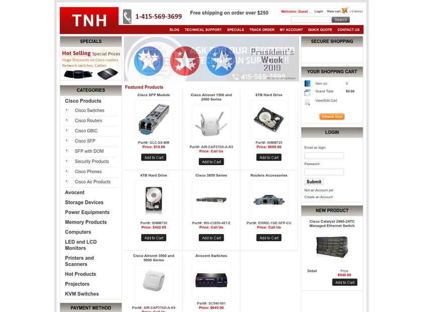 TheNetworkHardware homepage screenshot