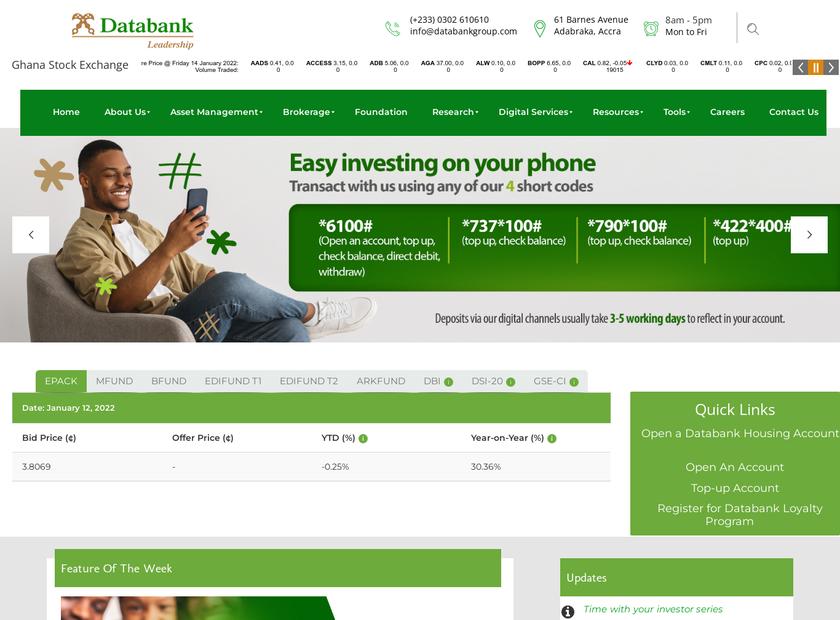 Databank Financial Services Ltd homepage screenshot