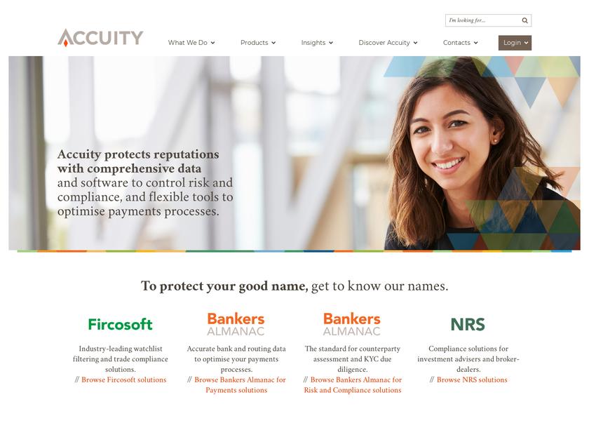 BankersAccuity homepage screenshot