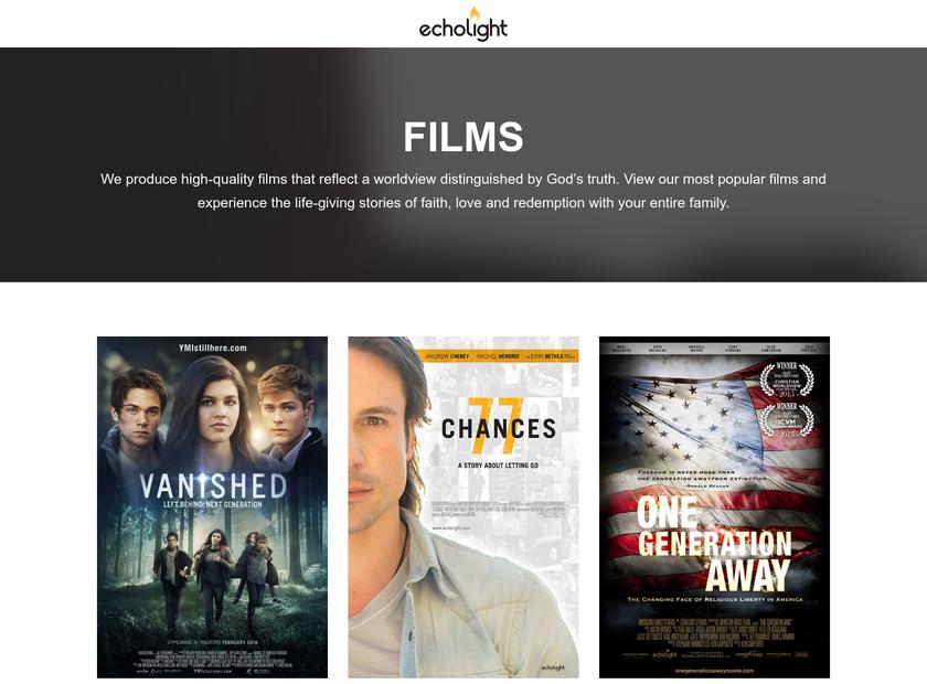 EchoLight Studios homepage screenshot