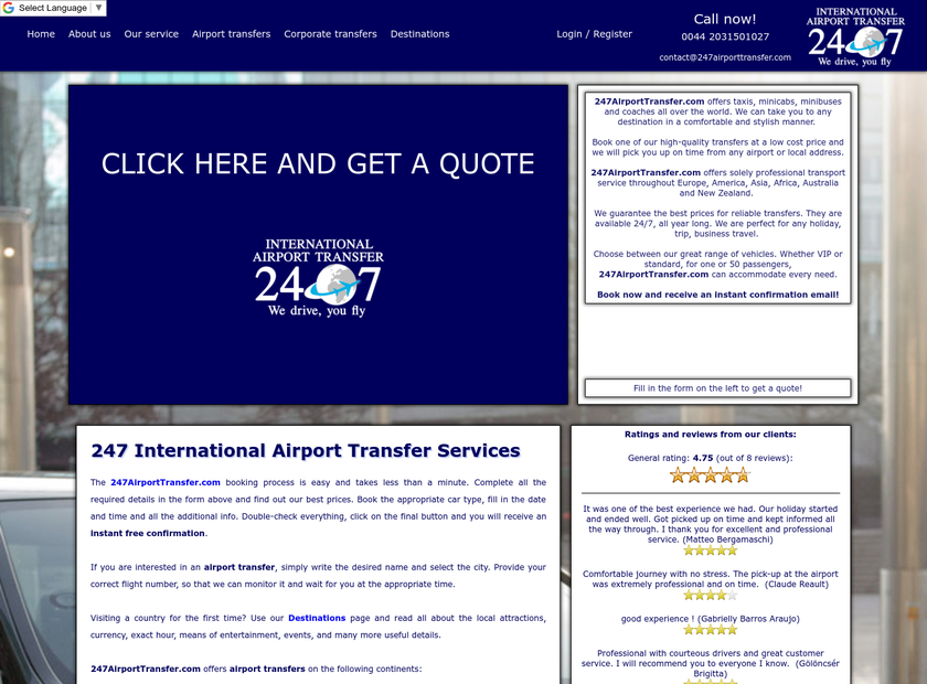 247airporttransfer.com homepage screenshot