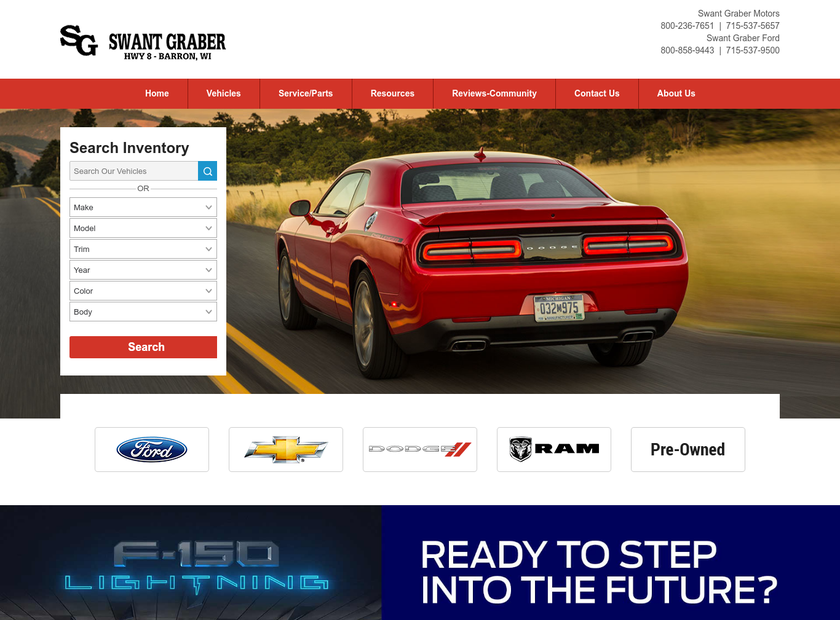 Swant Graber Auto Group homepage screenshot