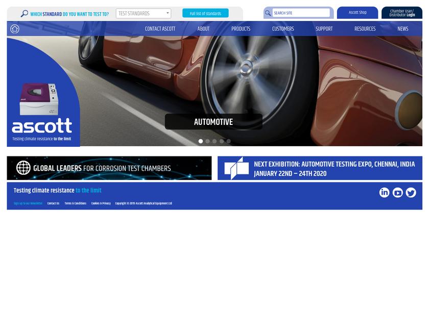 Ascott Analytical Equipment Limited homepage screenshot