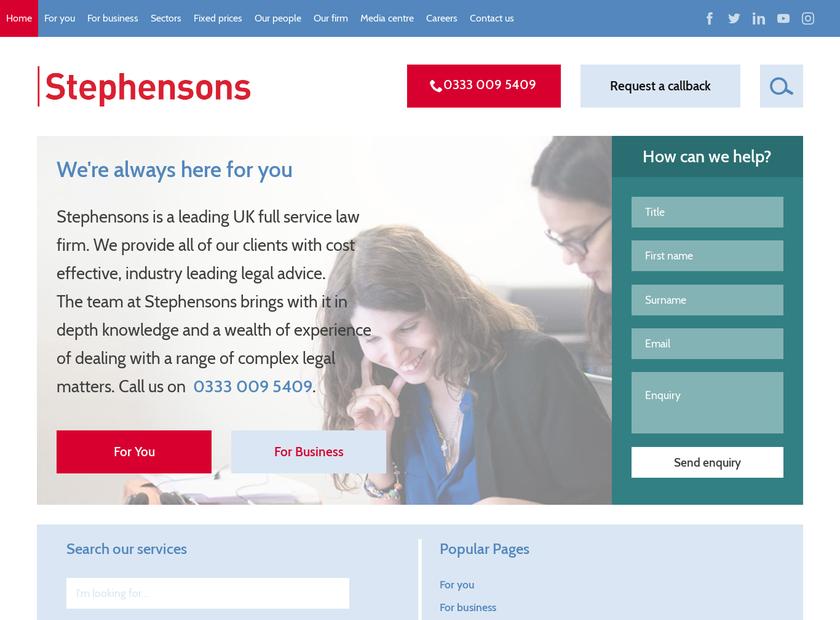 Stephensons Solicitors LLP homepage screenshot