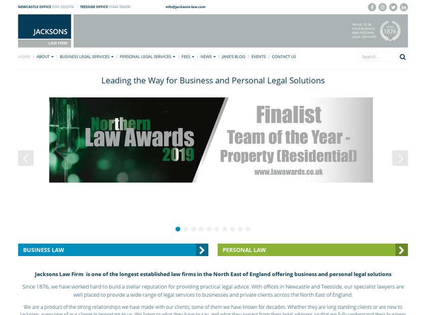 Jacksons Law Firm homepage screenshot