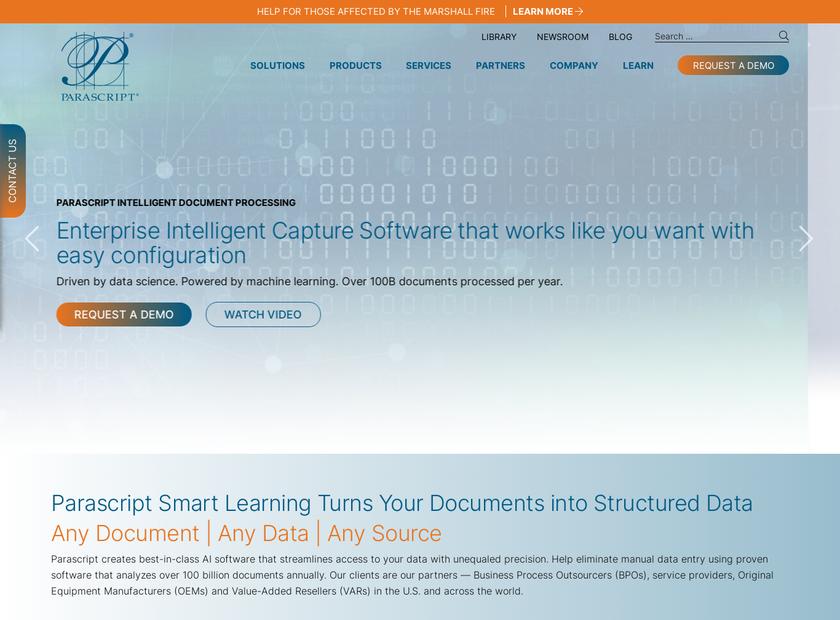 Parascript LLC homepage screenshot