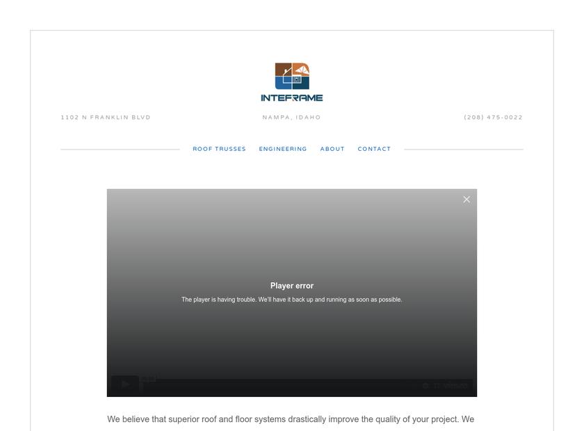 Idaho Truss & Component Company homepage screenshot