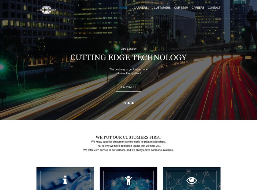 Ultra Logistics Inc homepage screenshot