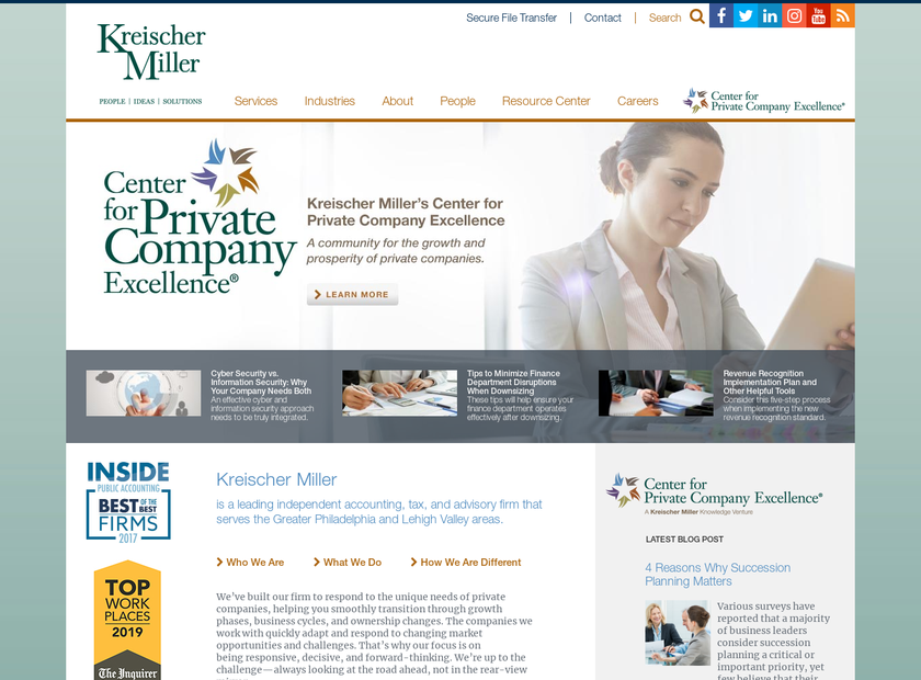 Kreischer Miller & Co homepage screenshot