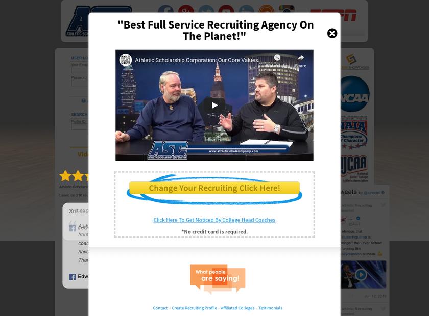Athletic Scholarship Corporation homepage screenshot