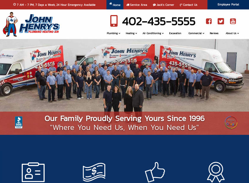 John Henry's Plumbing, Heating and Air Conditioning homepage screenshot