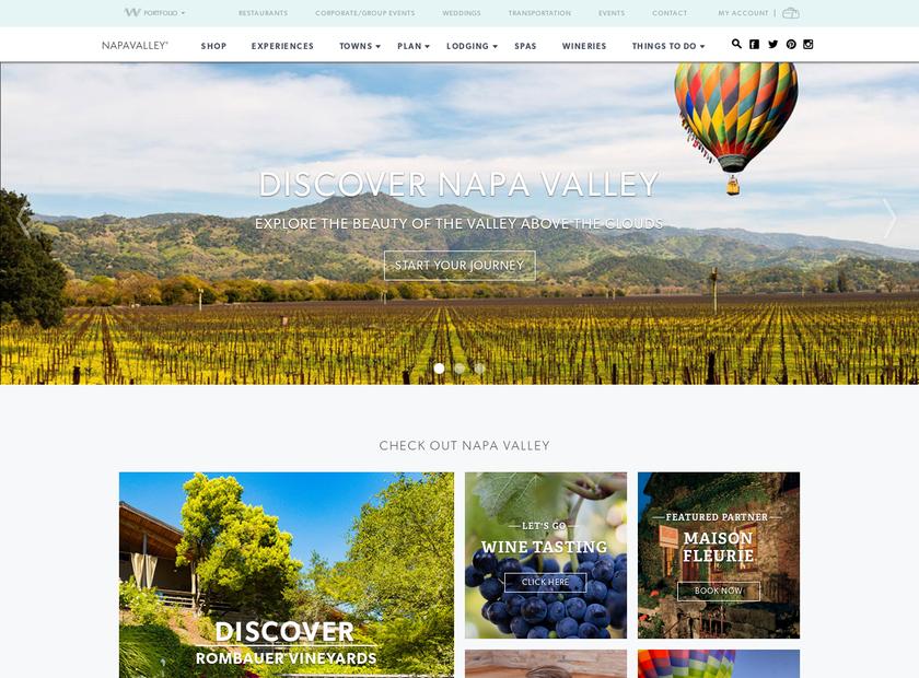 Napa Valley homepage screenshot