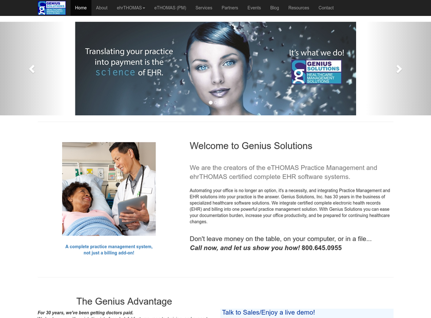 Genius Solutions Inc homepage screenshot