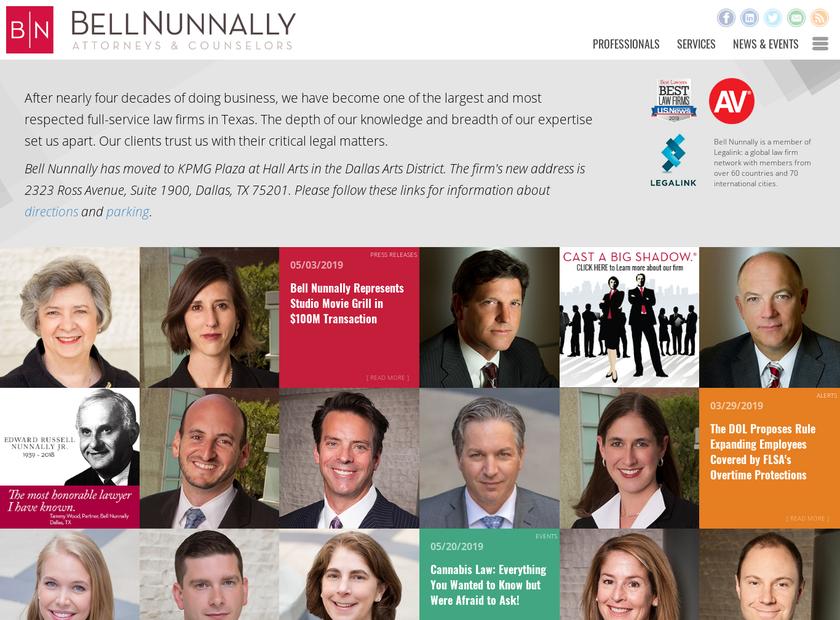 Bell Nunnally & Martin LLP homepage screenshot