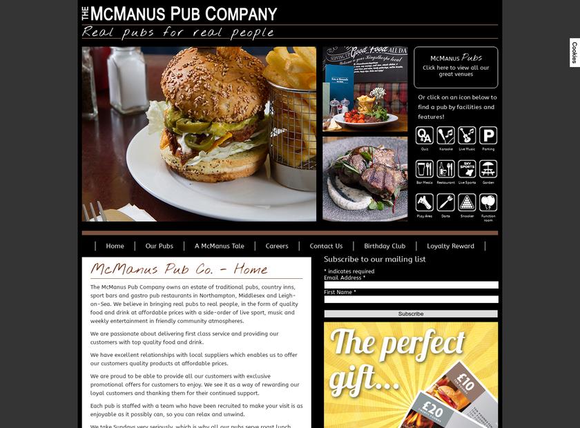 Mcmanus Pub Company homepage screenshot