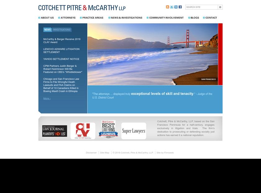 Cotchett Pitre & McCarthy LLP homepage screenshot