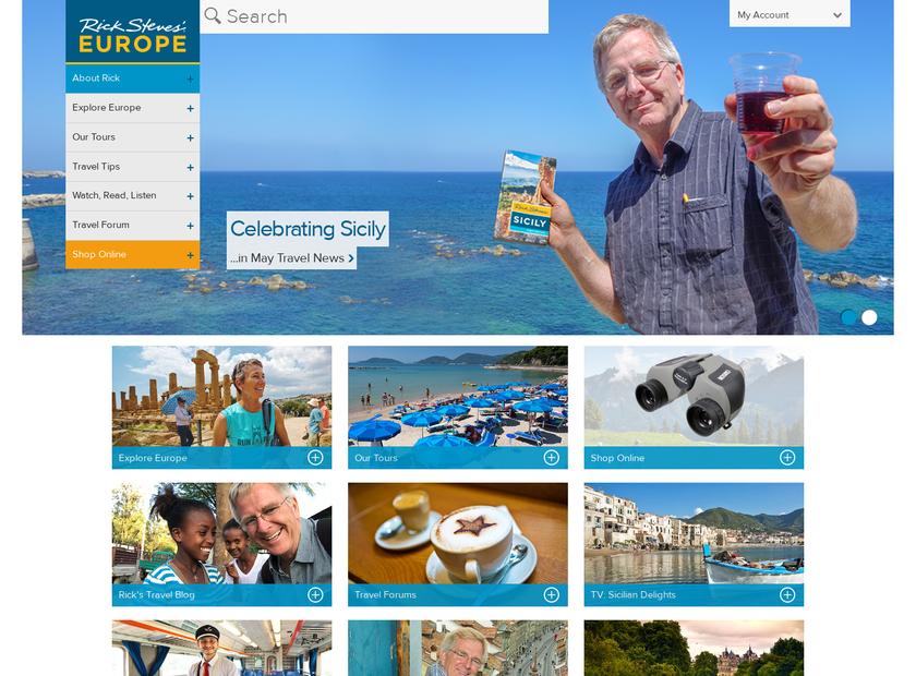 Rick Steves homepage screenshot