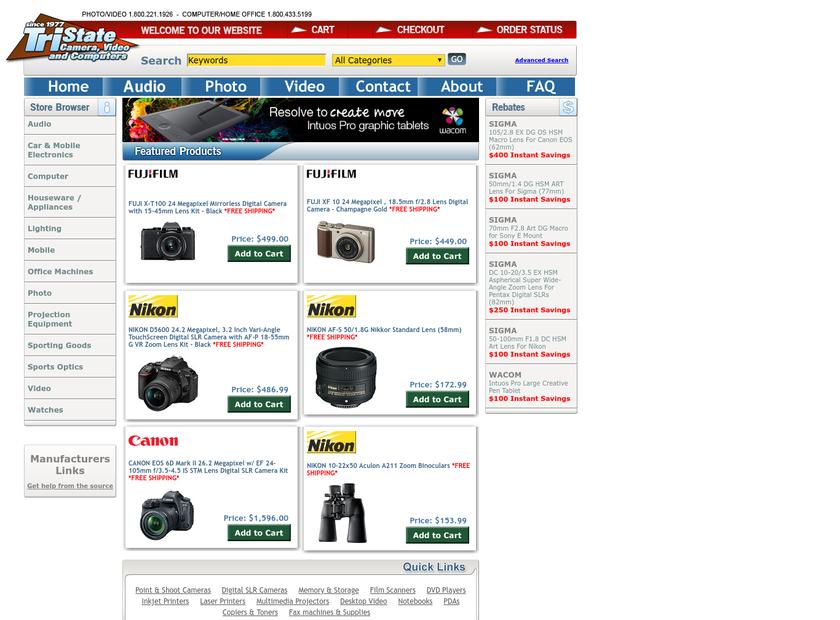 Tri-State Camera homepage screenshot